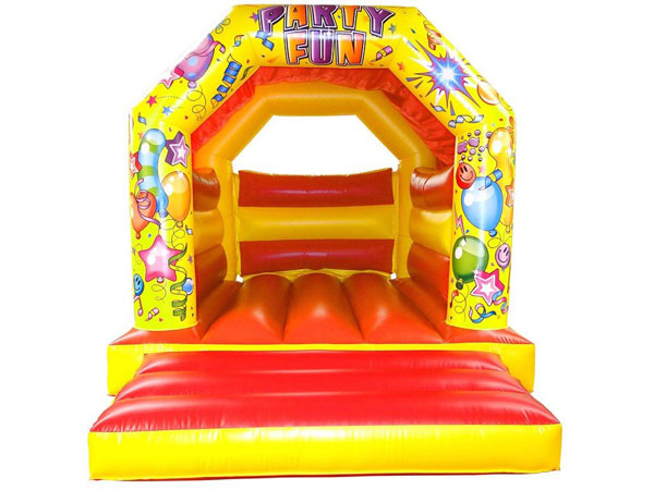 Red and Yellow Party Fun Bounce bouncy castle. 16ft x 11ft x 11ft£65. Please quote number: 73