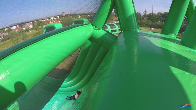 this is a photo of inflatable 5k giant balls fun run tough mudder assault course giant huge photo of inflatable 5k event leap of faith vertical drop slide knockout obstacle bouncy bounce uk largest epic