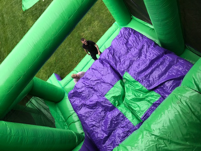 this is an image inflatable slide jump of a 5m base jump leap of faith freefall