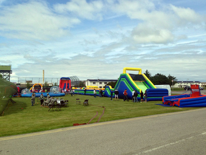 Inflatable games and castles at fete