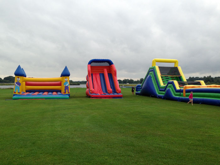 135ft inflatable assault course, giant castle and inflatable slide