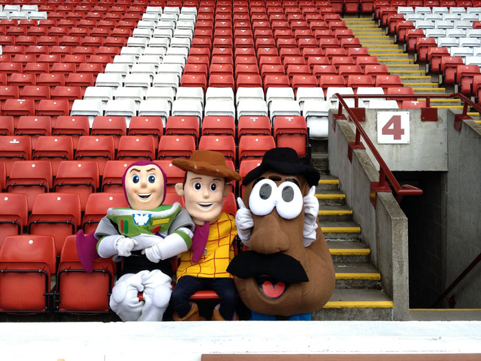 Toystory character costumes at football club
